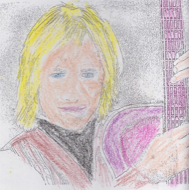 A coloring book headshot of Tom Petty. He is holding up a purplish pink guitar and is wearing a brown jacket and black vest