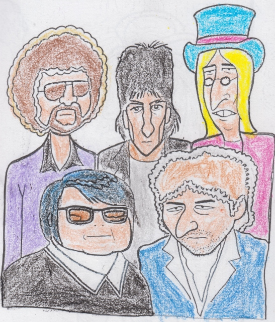 Top Row: Jeff Lynne, George Harrison, Tom Petty Front Row: Roy Orbison and Bob Dylan
