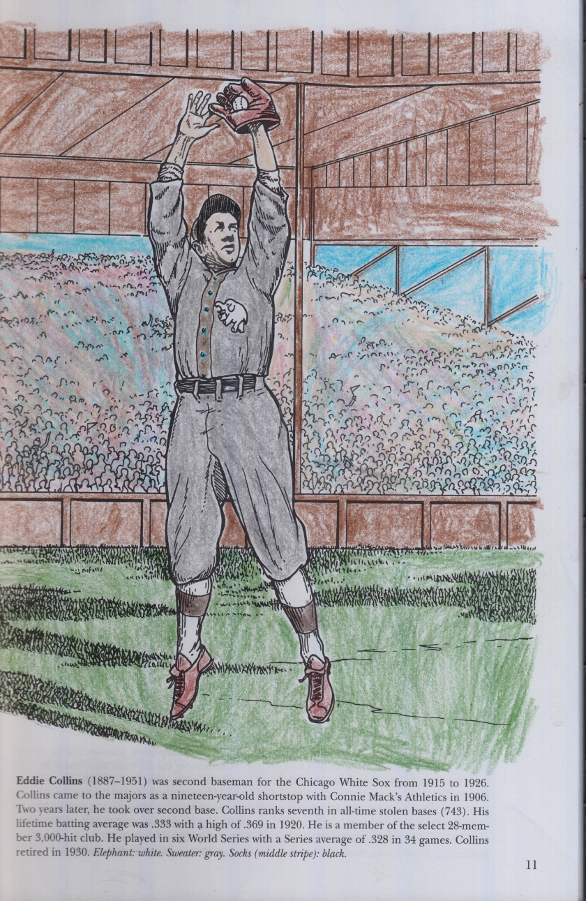 A coloring book picture of Hall of Fame Secondbaseman Eddie Collins leaping to make a catch.jpg