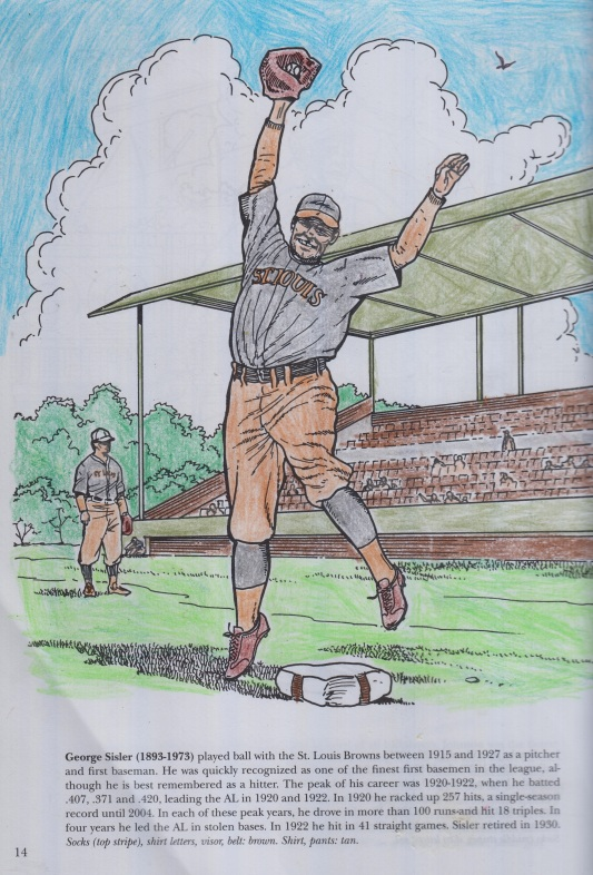 Coloring Book pic of Hall of Fame St. Louis Brown Firstbaseman George Sisler leaping for a baseball.jpg