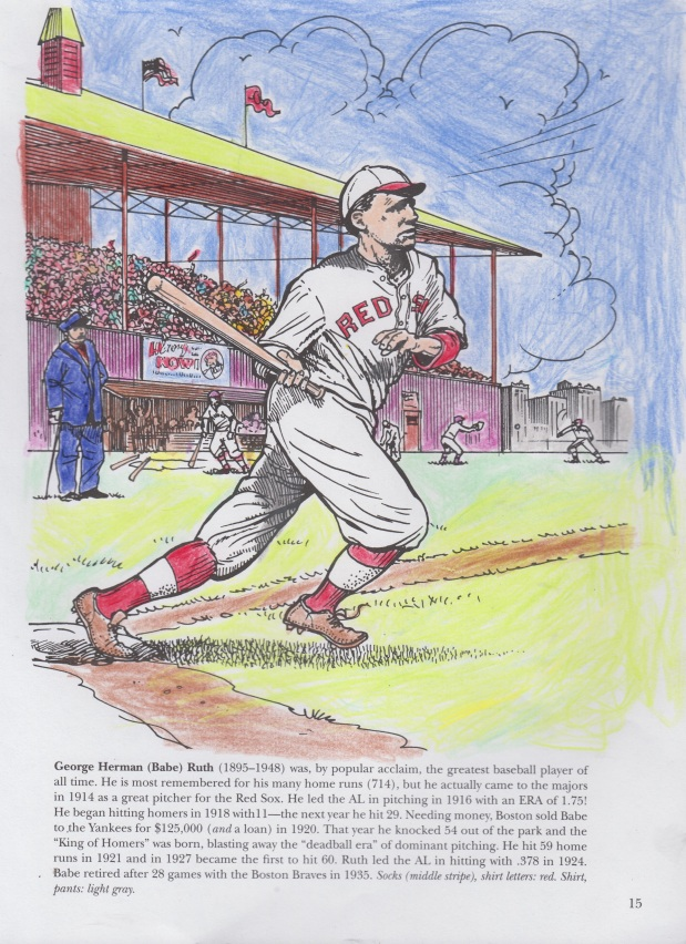 A coloring book picture of Babe Ruth as a Boston Red Sox.jpg