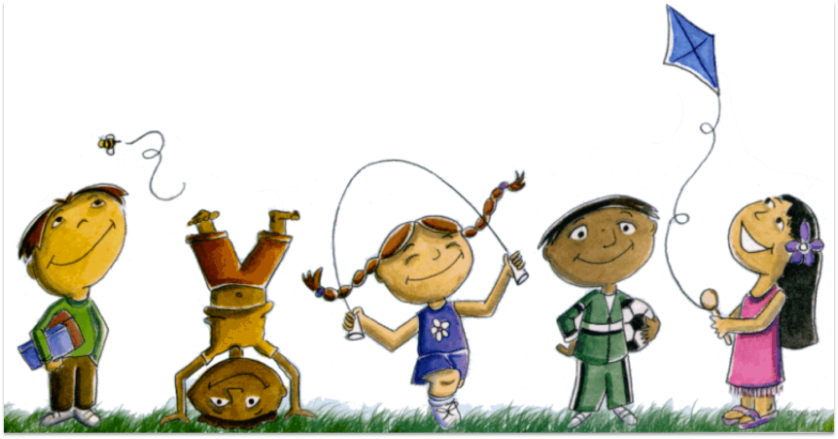 Clipart of 5 Children playing