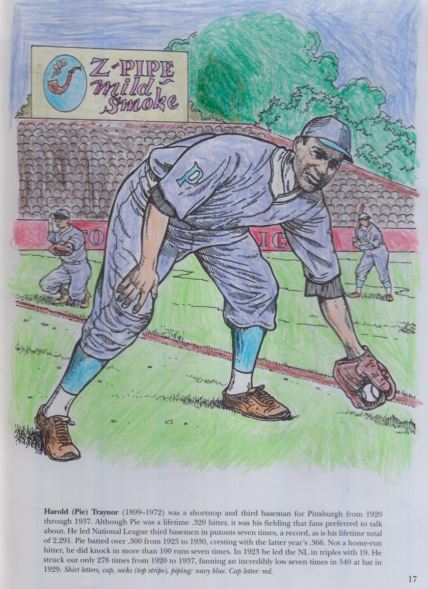 Coloring book pic of Hall of Fame Thirdbaseman Pie Traynor wearing a blue colored 1920s styled Pirate uniform.jpg