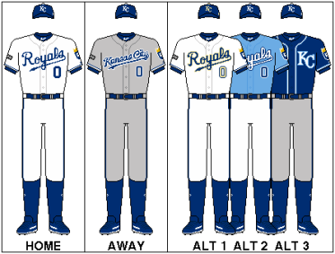 Royals 2018 uniforms Home and Away. Plus 3 additional alternative uniforms that are worn.