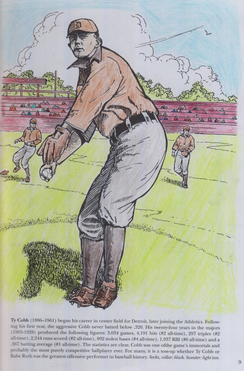 Coloring Book Picture of the Hall of Fame Outfielder and Detroit Tiger Ty Cobb