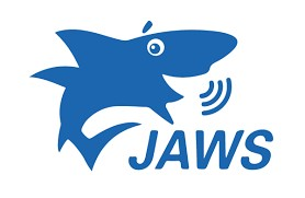 "Figure 3: The JAWS Logo which shows a blue shark speaking with the Word ""Jaws"" below the shark."