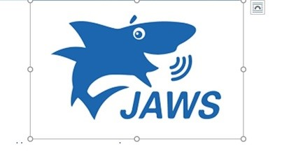 "Figure 6: The JAWS Logo which shows a blue shark speaking with the Word ""Jaws"" below the shark."